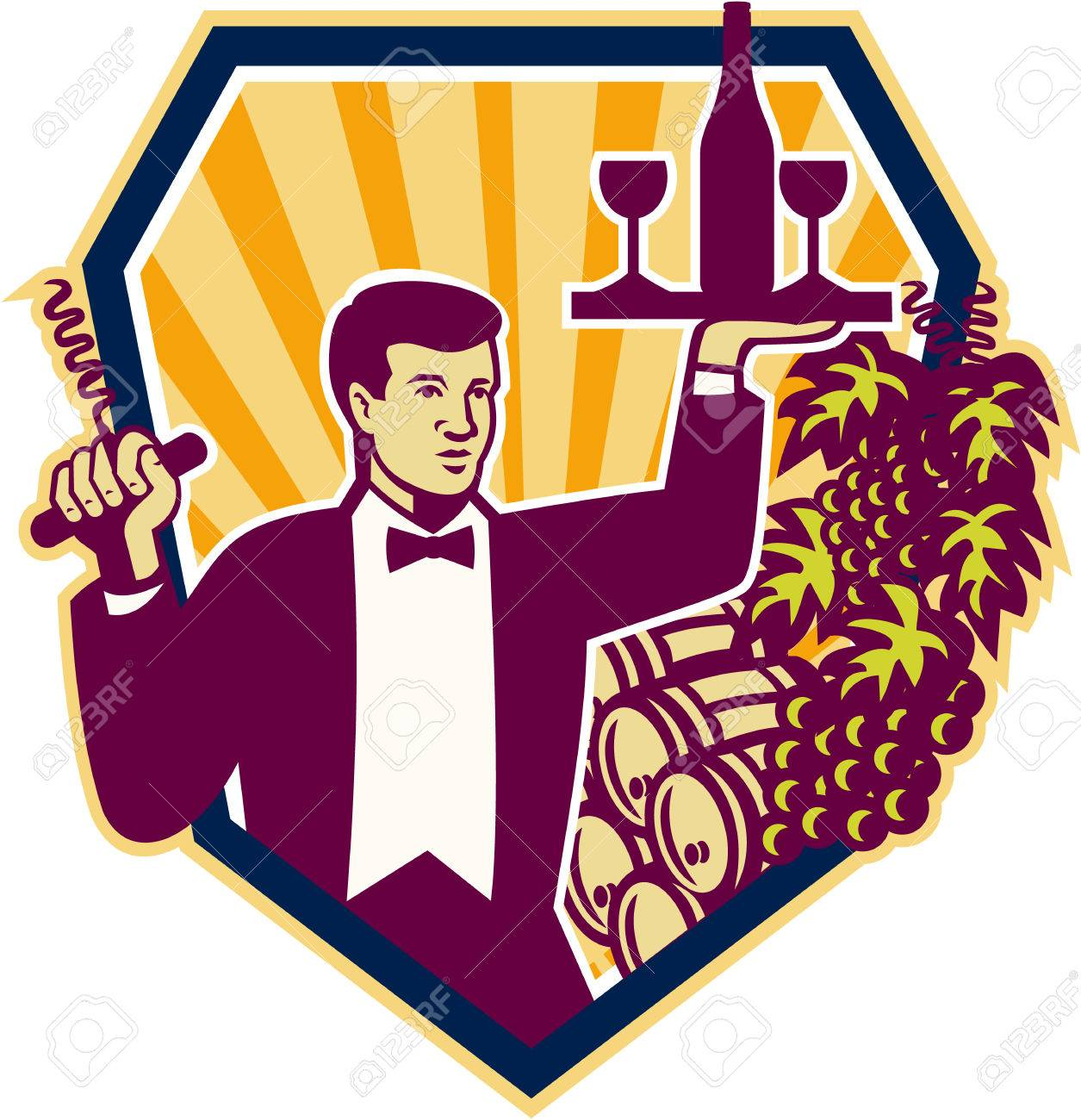 Retro style illustration of a waiter serving carrying wine glass and bottle on one hand and corkscrew on the other with wine barrels and grape vine in background set inside shield Stock Vector - 24024846