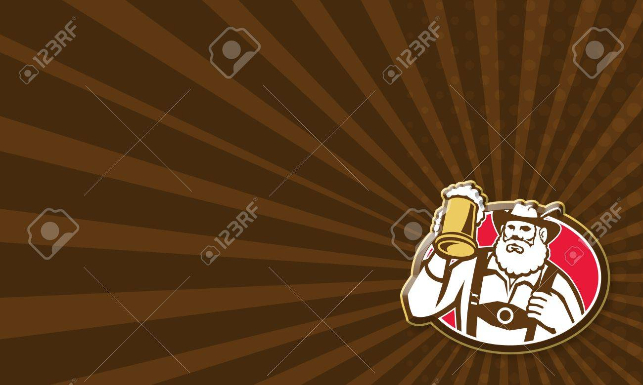 Business card template showing illustration of a Bavarian beer drinker raising beer mug drinking looking up wearing lederhosen and German hat set inside oval done in retro style. Stock Illustration - 24548552