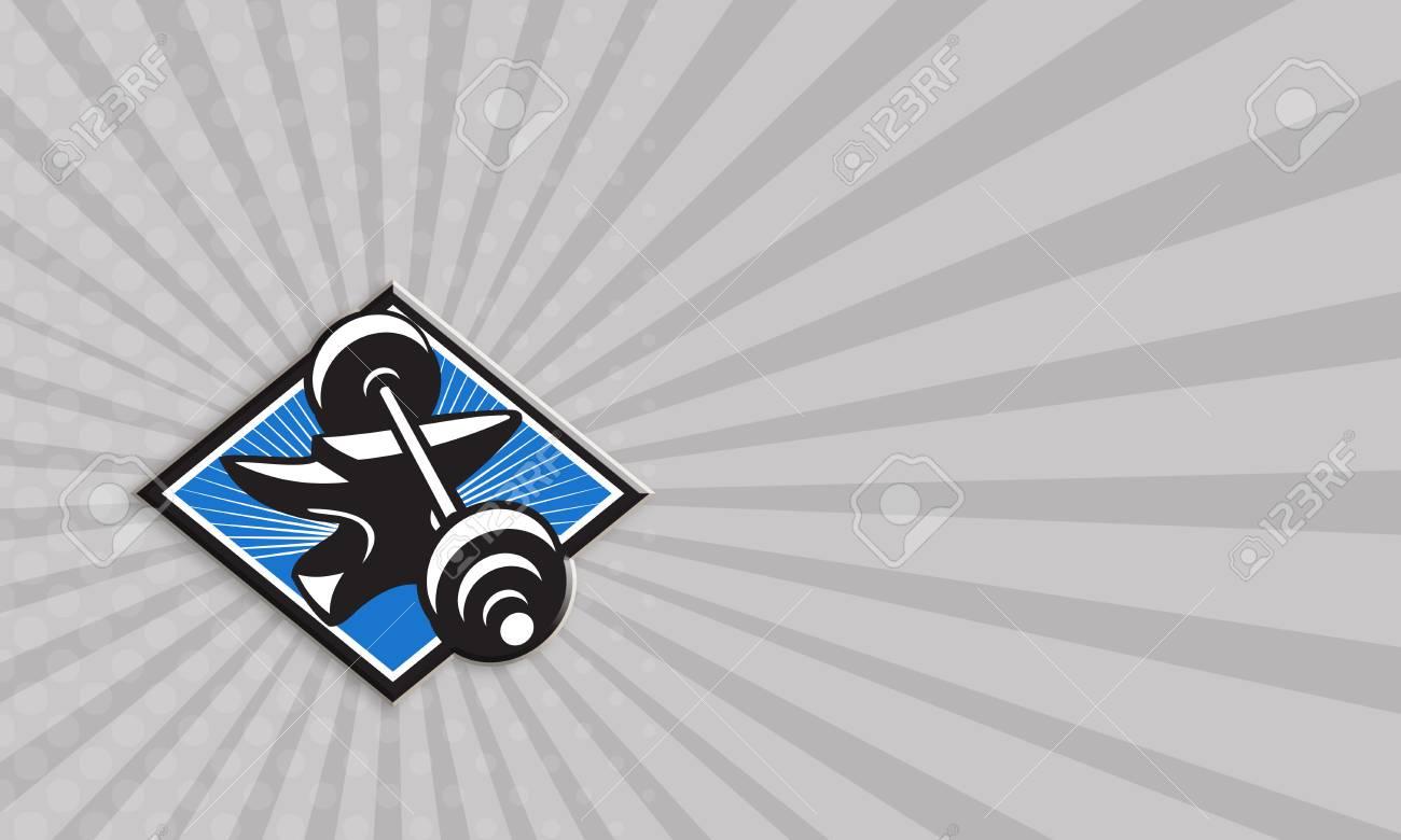 Business card template showing illustration of a barbell on top business card template showing illustration of a barbell on top of anvil set inside diamond shape colourmoves