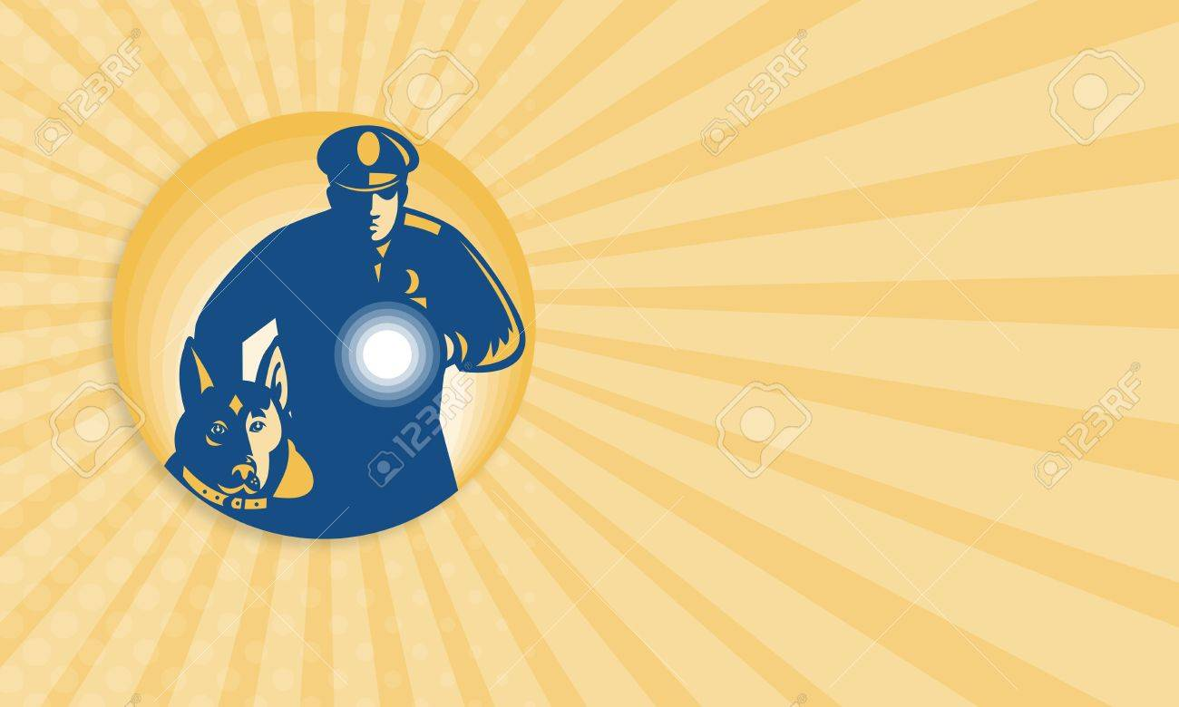 business card template showing illustration of a security guard business card template showing illustration of a security guard policeman police guard dog and flashlight