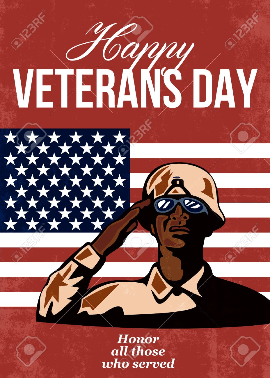 Greeting card poster showing illustration of an african american greeting card poster showing illustration of an african american soldier serviceman saluting with stars and stripes kristyandbryce Images