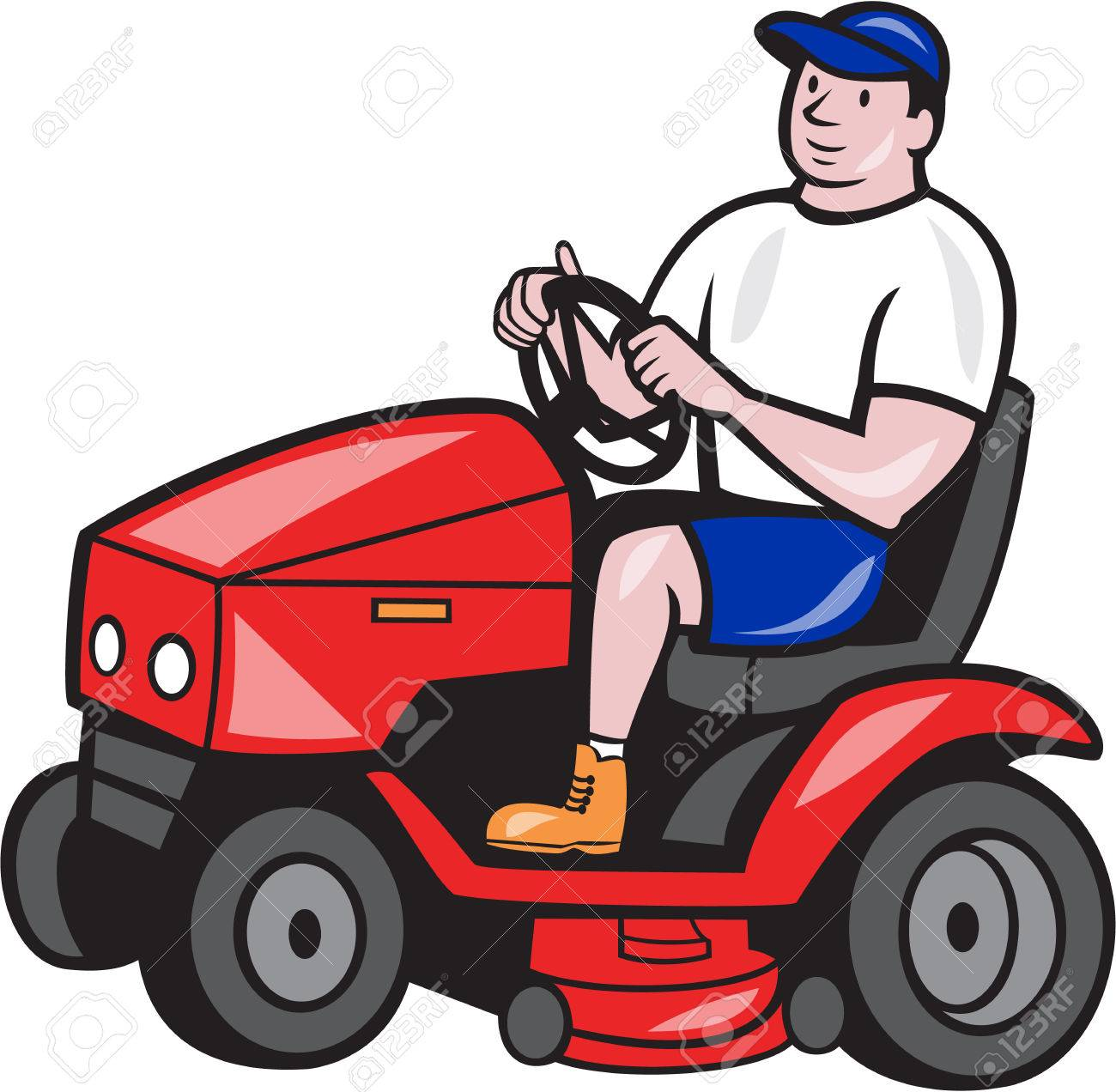 Riding Lawn Mower Illustration Riding Lawn Mower