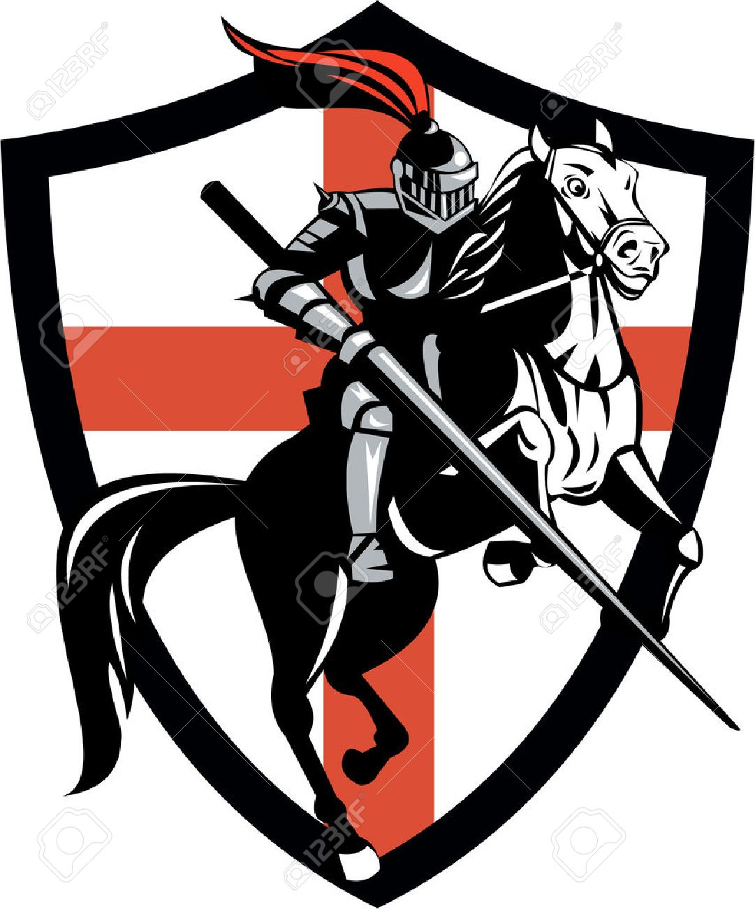 Illustration of knight in full armor riding a horse armed with lance and England English flag in background done in retro style. Stock Vector - 25967916