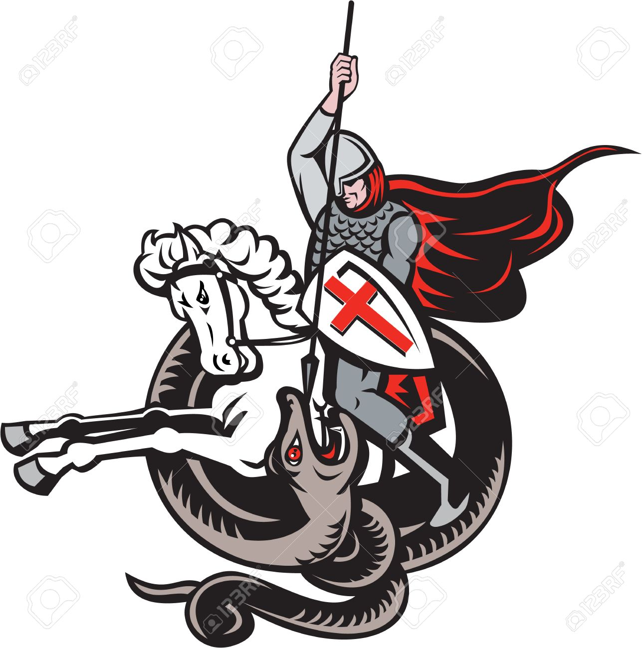 Illustration of an English knight in full armor with lance fighting dragon with England flag in background done in retro style. Stock Vector - 25967918
