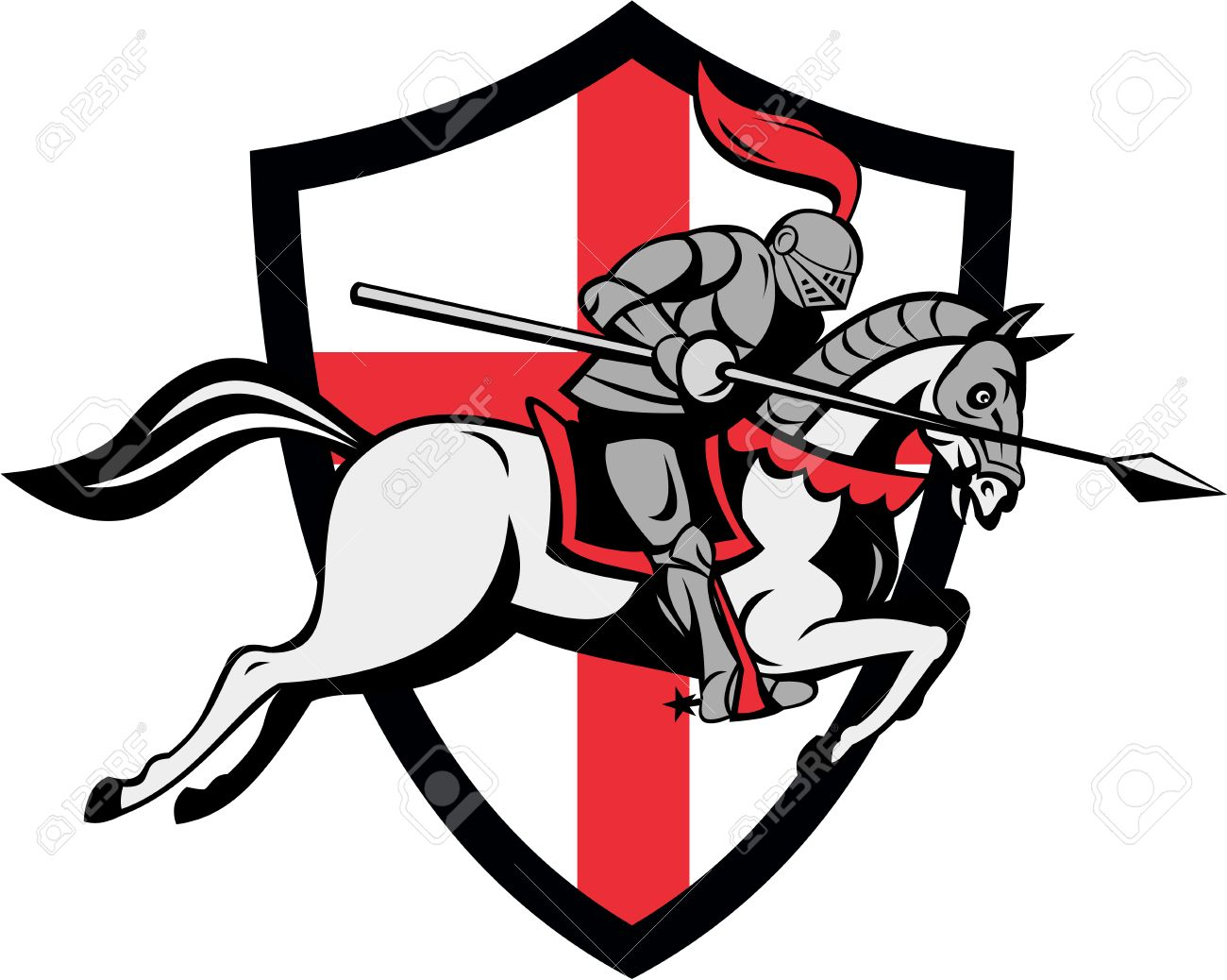 Illustration of knight in full armor riding a horse armed with lance and England English flag in background done in retro style. Stock Vector - 25967942