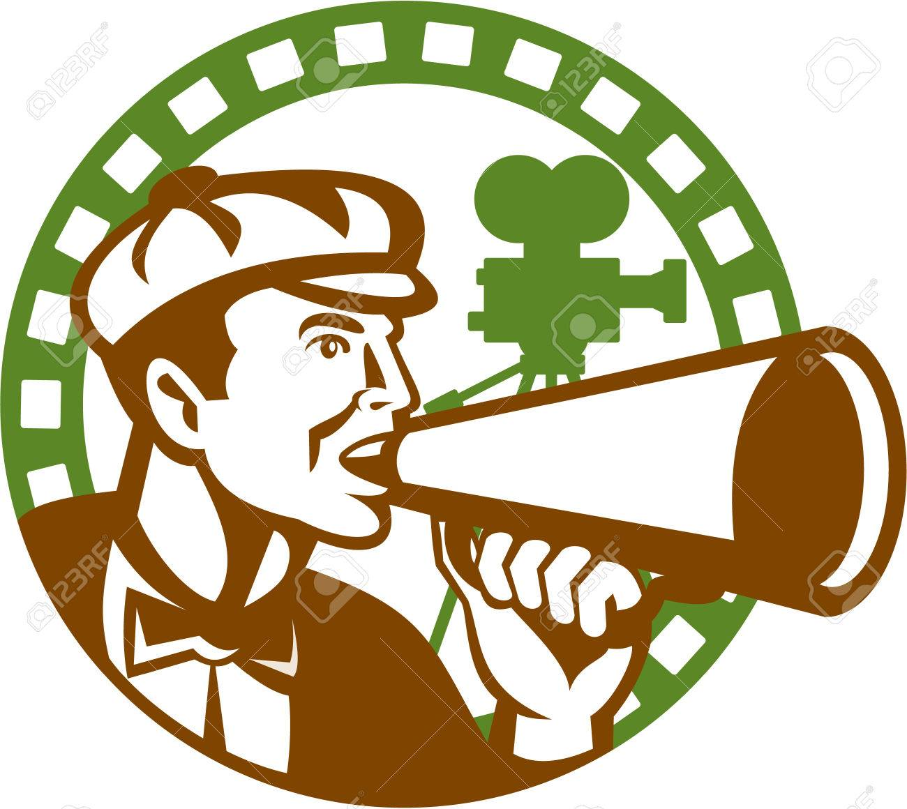 Illustration of a movie director cameraman shouting using bullhorn with vintage camera set inside circle done in retro style. Stock Vector - 26131590