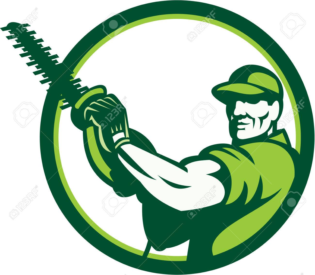 Illustration of a tree surgeon arborist gardener tradesman worker holding a hedge trimmer facing front set inside circle done in retro style on isolated white background. Stock Vector - 26131675