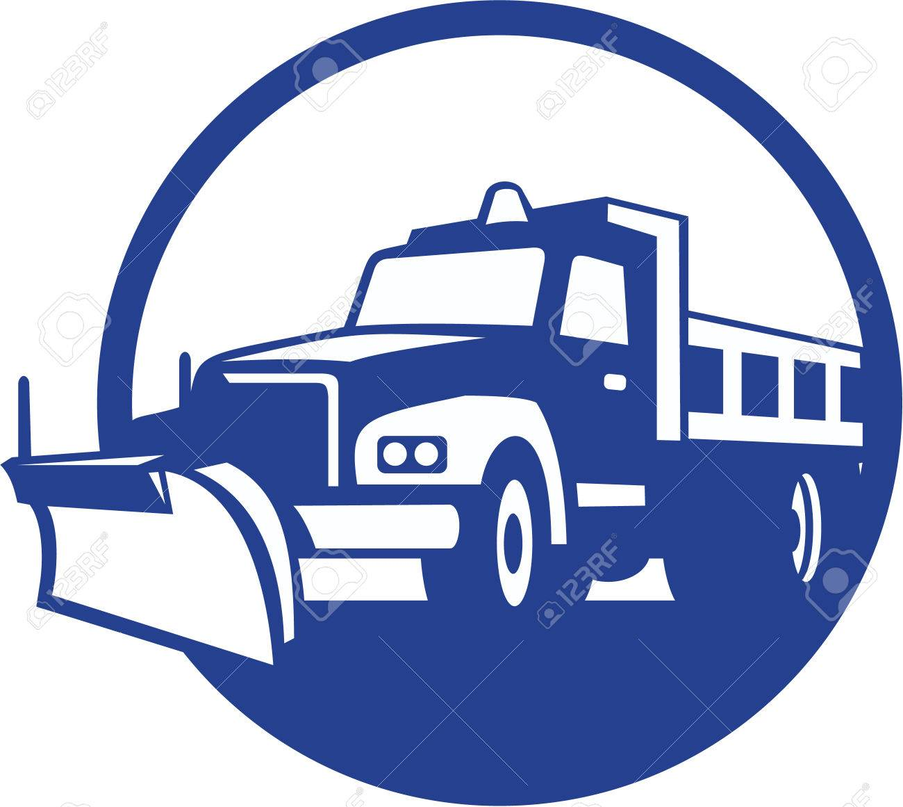 Illustration of a snow plow truck set inside circle on isolated background done in retro style. Stock Vector - 26131761