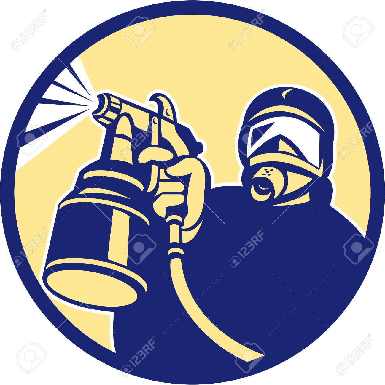 Illustration of car painter holding paint spray gun spraying set inside circle done in retro style. Stock Vector - 26131778