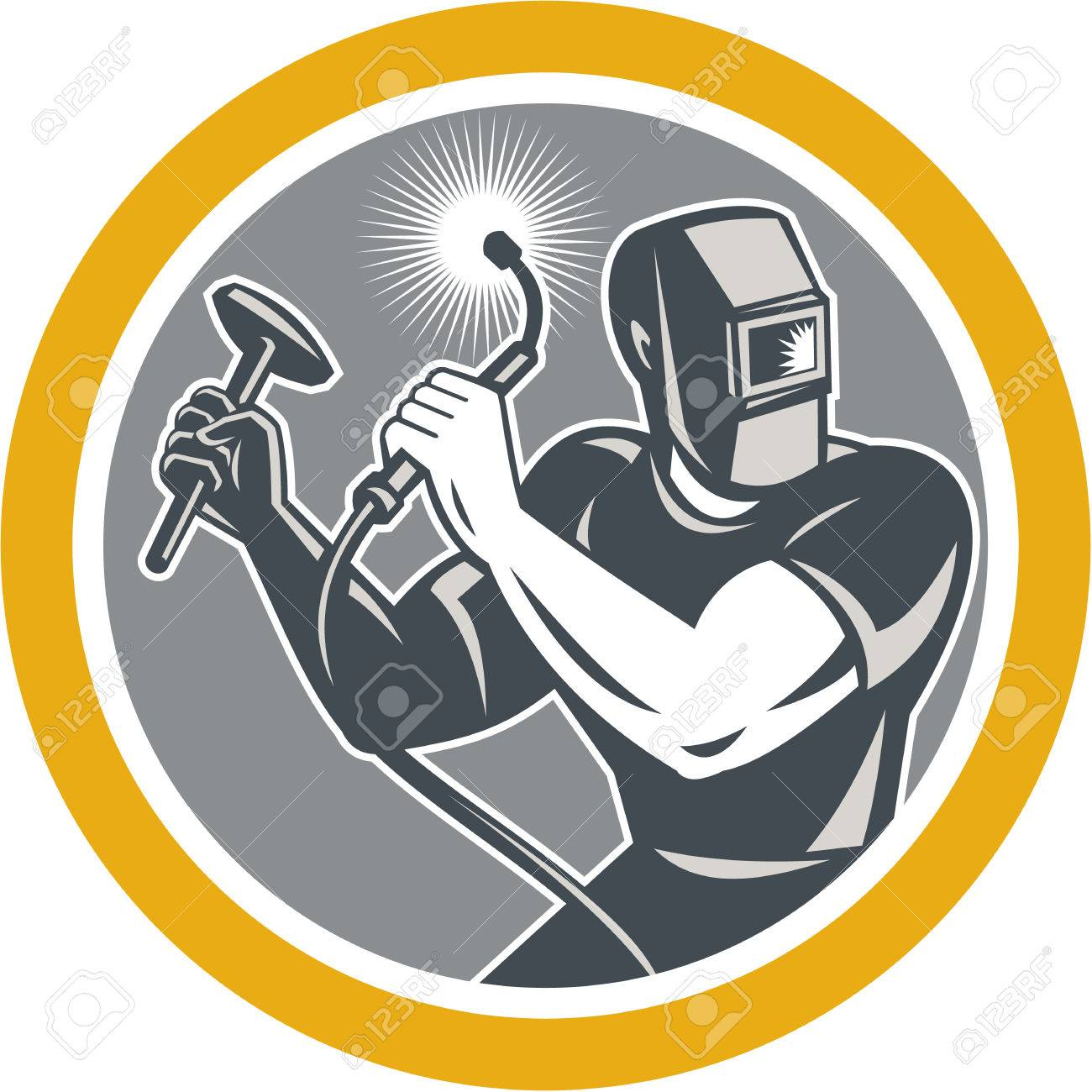 Illustration of welder worker working using welding torch holding hammer viewed from front set inside circle on isolated background done in retro style. Stock Vector - 26724886