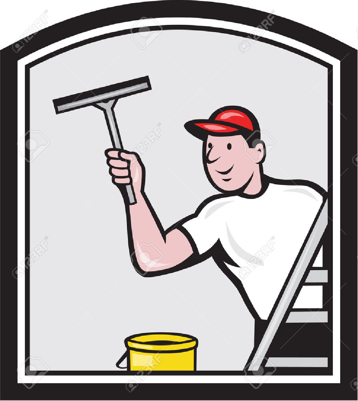 Illustration of a window cleaner cleaning a window with squeegee viewed from rear angle set inside shield on isolated background done in retro style. Stock Vector - 26724890