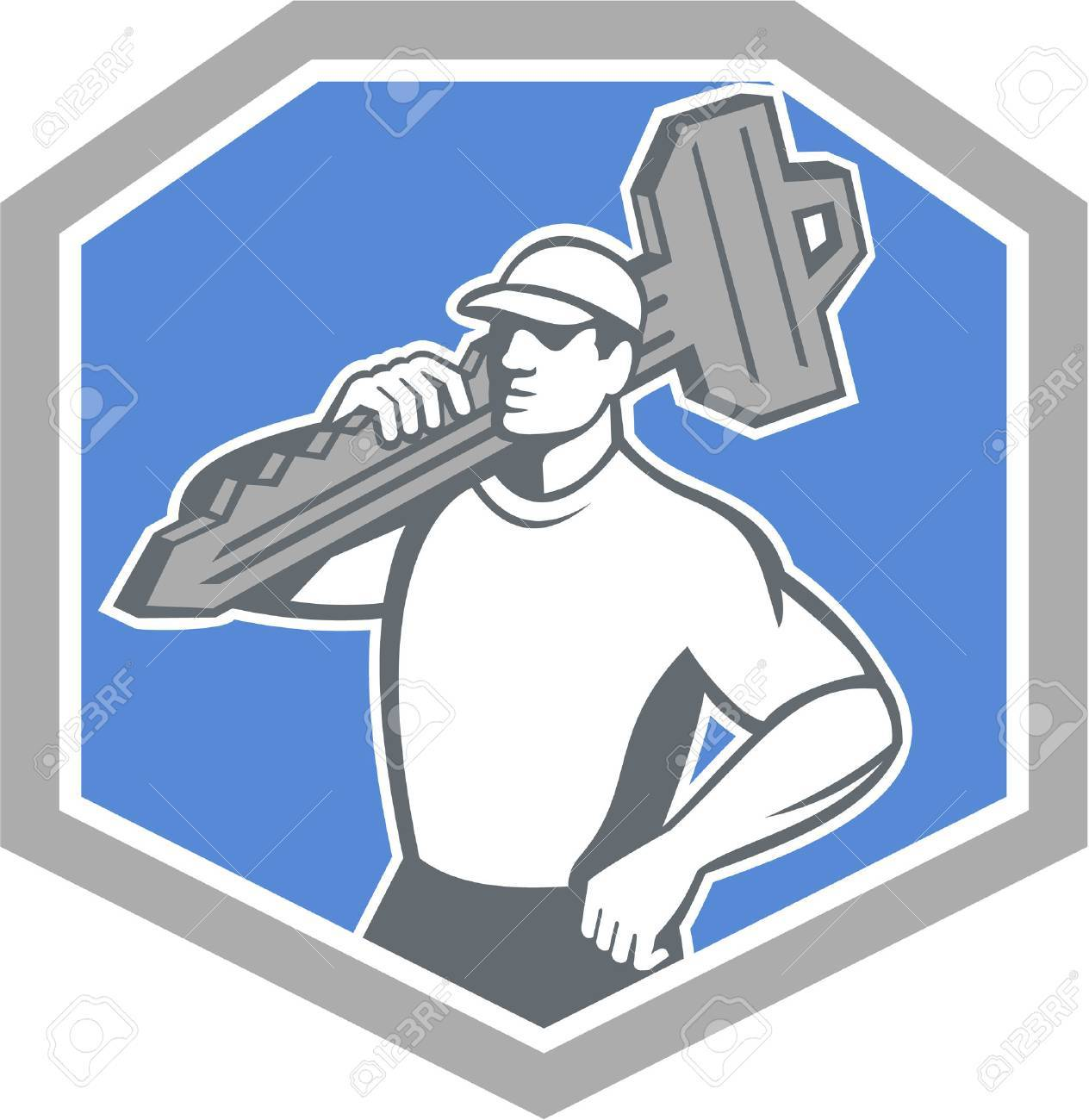 Illustration of a locksmith standing front side view carrying key on shoulder set inside shield crest on isolated background done in retro style - 26918555
