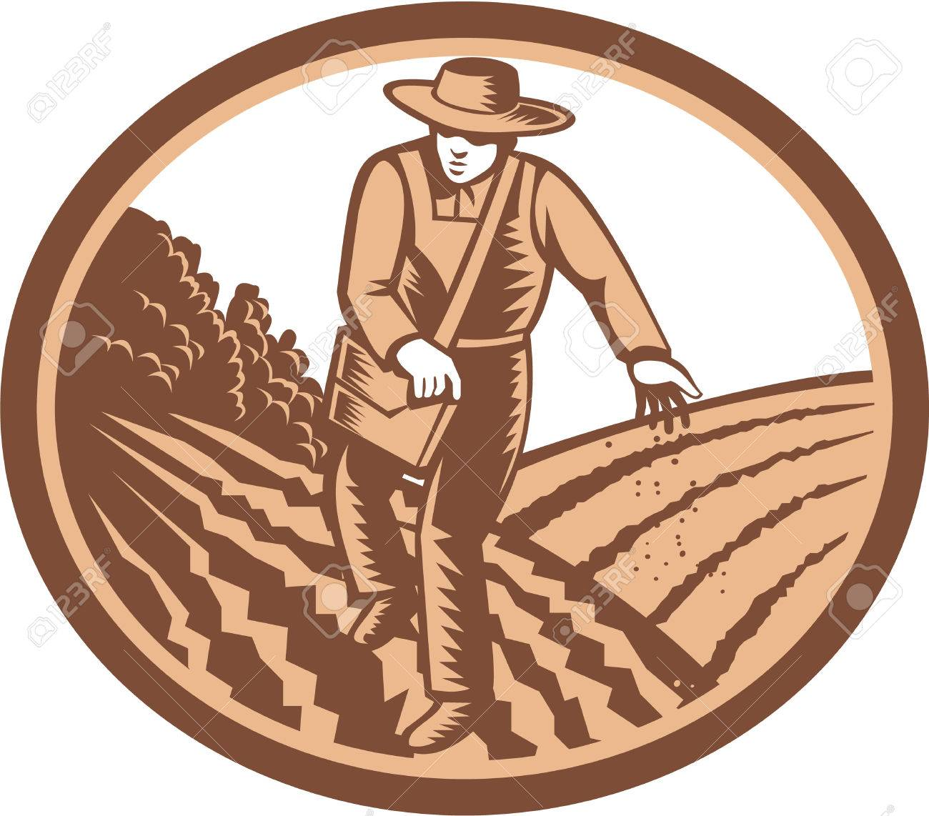 Illustration of organic farmer with satchel bag sowing seeds in farm field set inside oval shape done in retro woodcut style. - 26919213