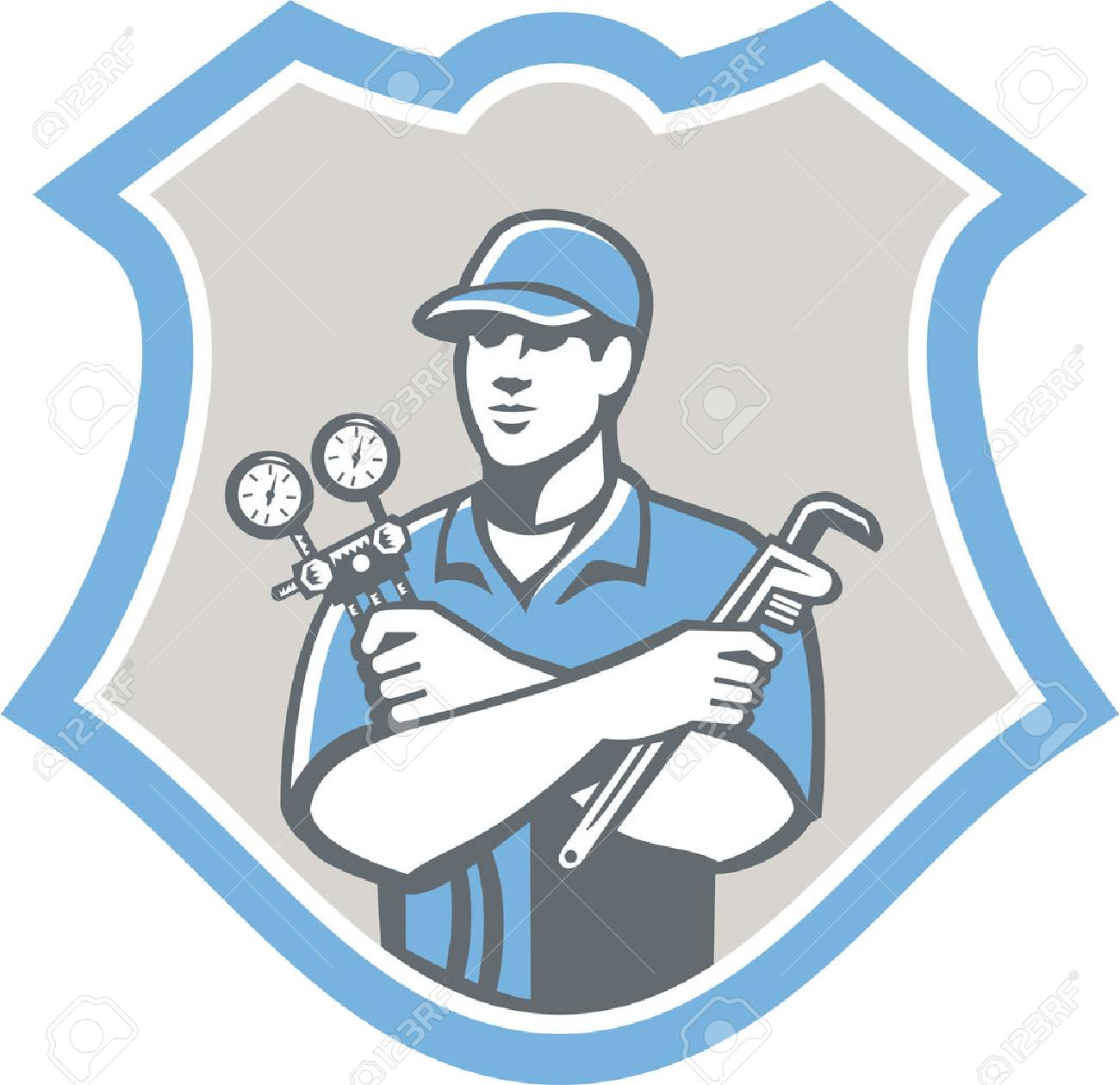 Illustration of a refrigeration and air conditioning mechanic holding a pressure temperature gauge and ac manifold wrench front view set inside shield on isolated on background done in retro style - 26919352