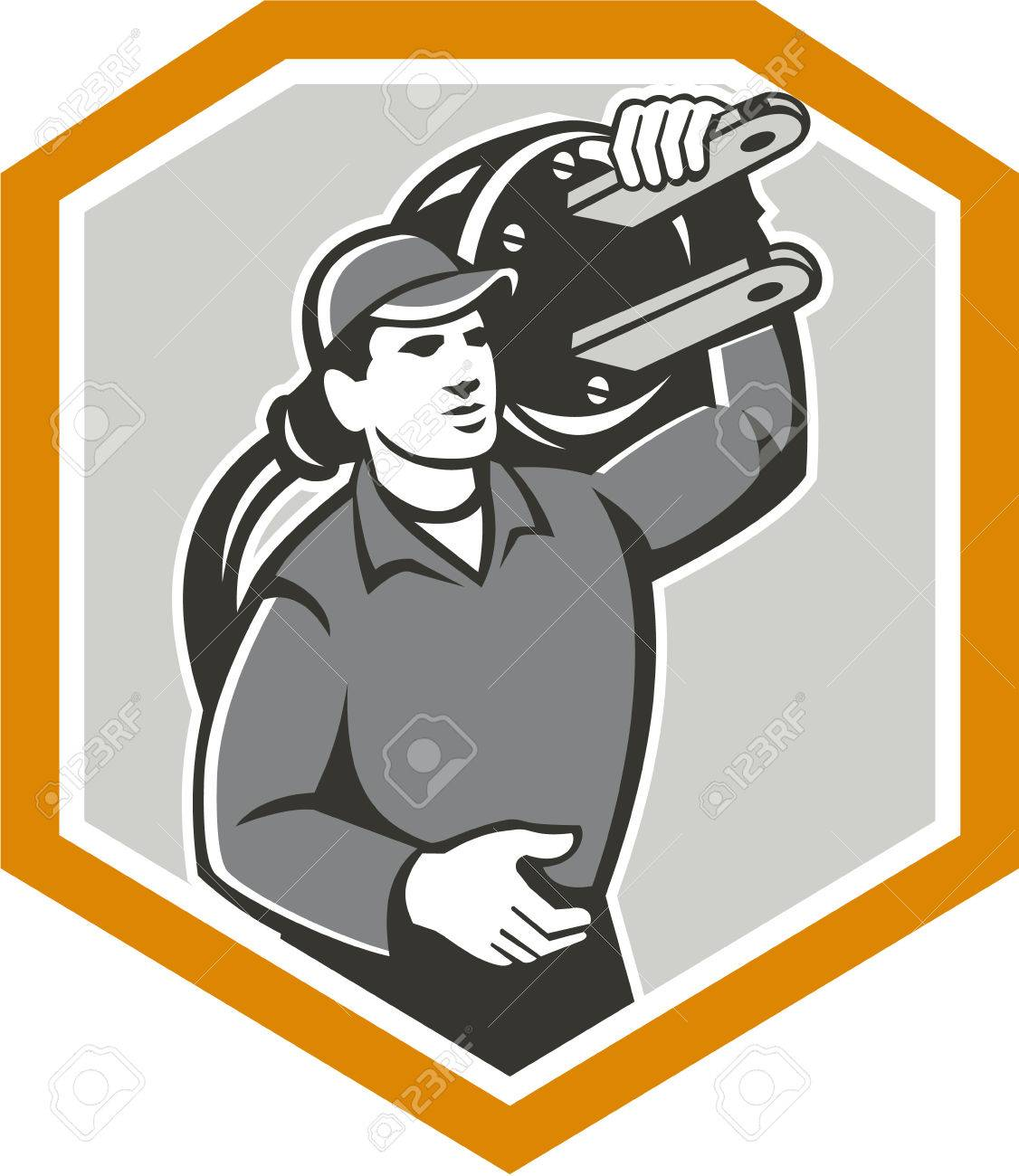 Illustration Of A Electrician Worker With Electric Plug Carrying On Shoulder Facing Front Set Inside Shield