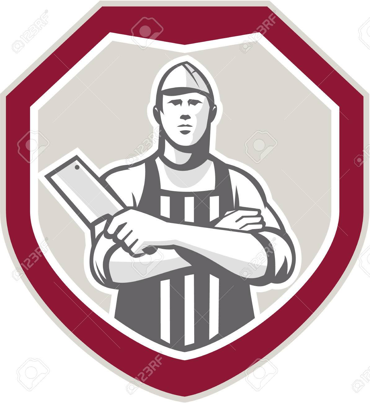 Illustration of a butcher cutter worker with meat cleaver knife facing front set inside shield crest on isolated background. - 27235921