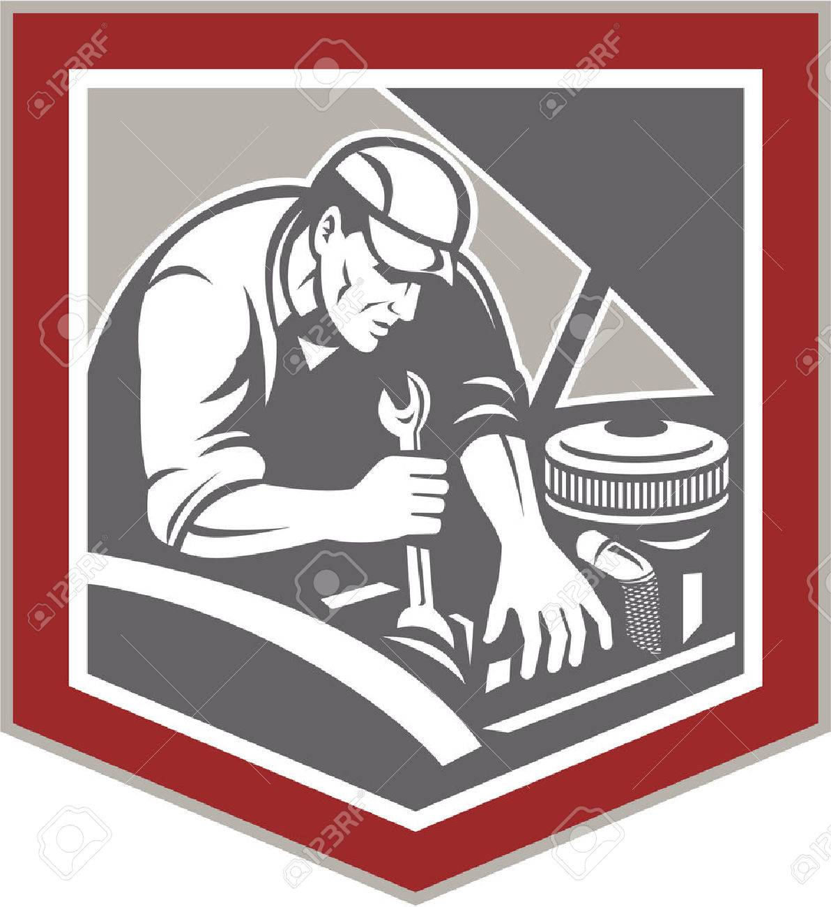 Illustration of a car mechanic repairing automobile vehicle using spanner wrench set inside shield crest shape done in retro woodcut style style. - 27235990