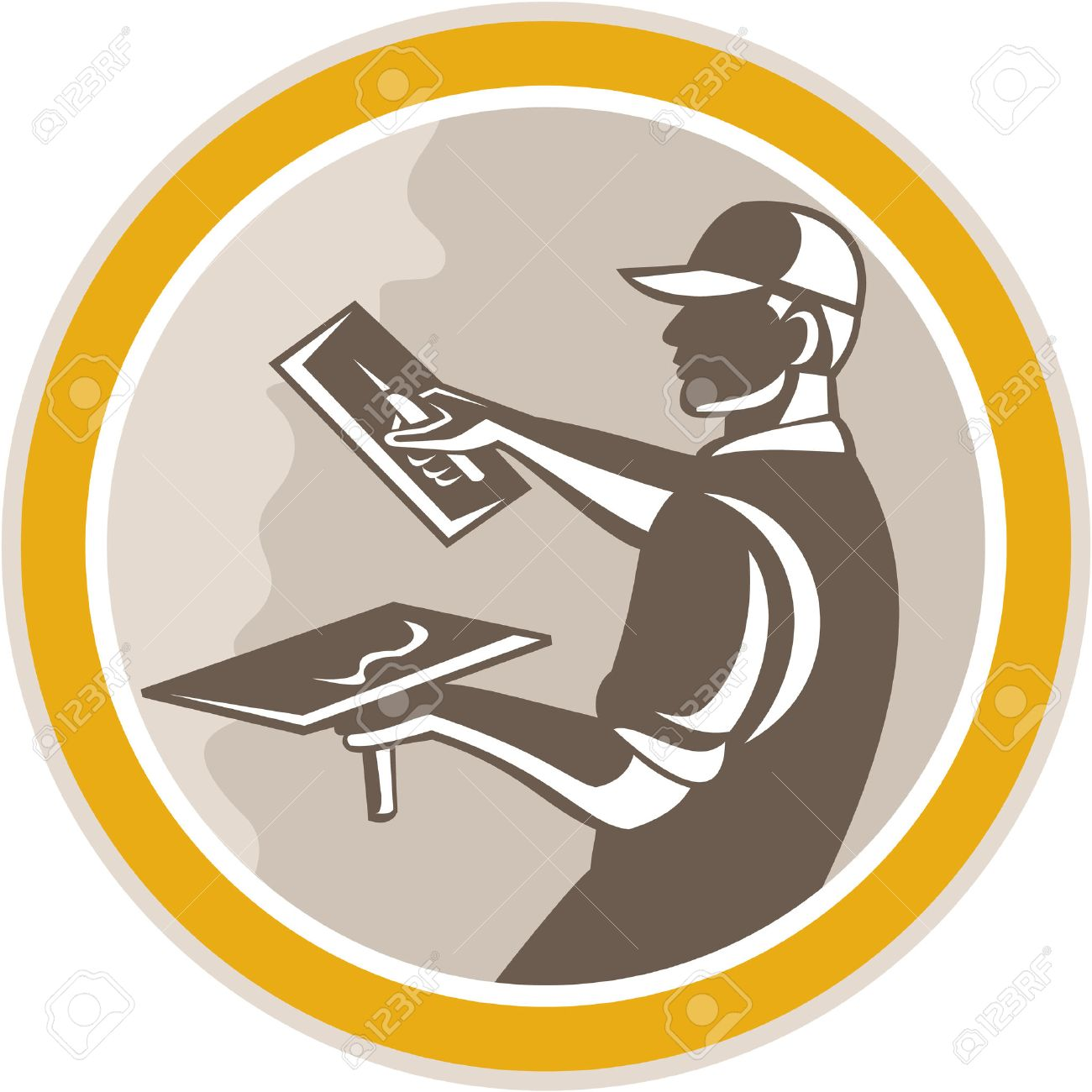 Illustration of a plasterer masonry tradesman construction worker with trowel done in retro woodcut style set inside circle on isolated background, - 27236038