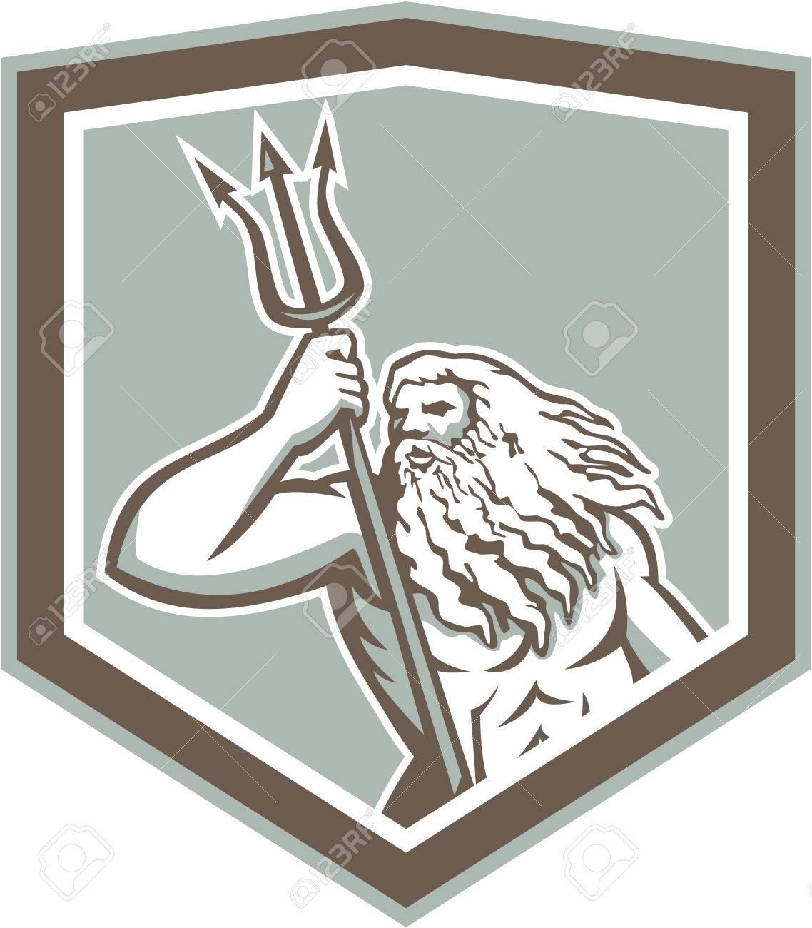 Illustration of Roman god of sea Neptune or Poseidon of Greek mythology holding a trident set inside shield crest on isolated white background. - 27669772