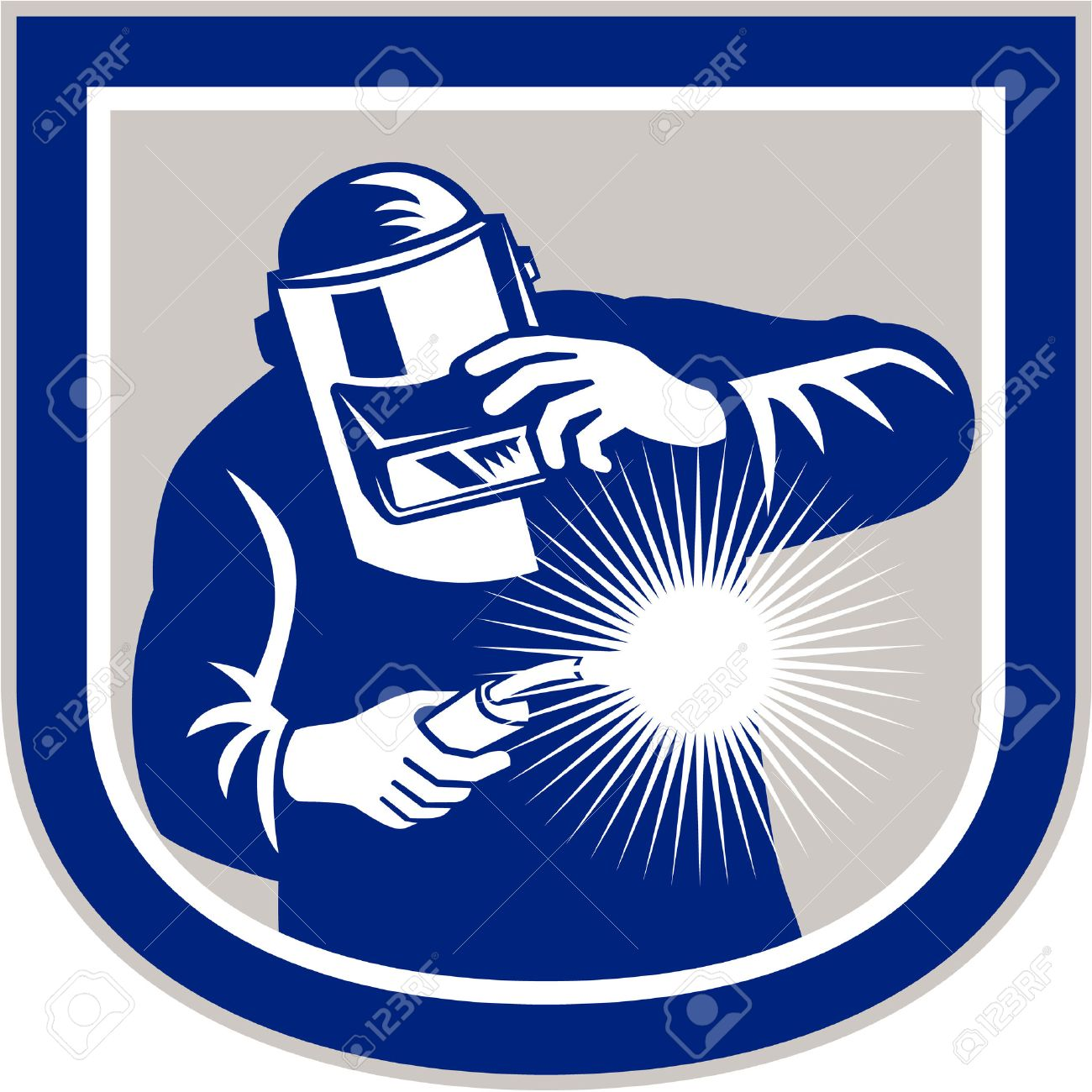 Illustration of welder worker working using welding torch viewed from front holding his visor set inside shield crest shape on isolated background done in retro style. Stock Vector - 27669784