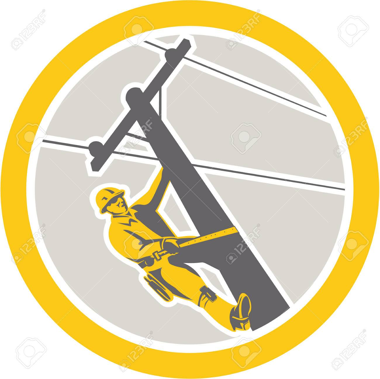 Illustration of a power lineman telephone repairman worker clmbing electric pole post repairing power cable done in retro style set inside circle. - 27874043