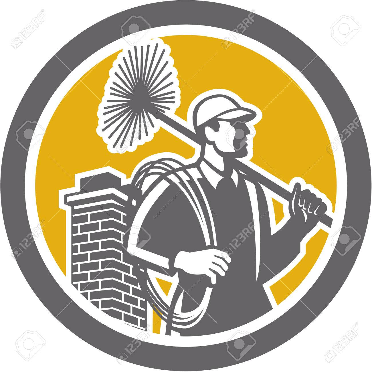 Illustration of a chimney sweep holding sweeper and rope viewed from side set inside circle on isolated background done in retro style. Stock Vector - 28260559