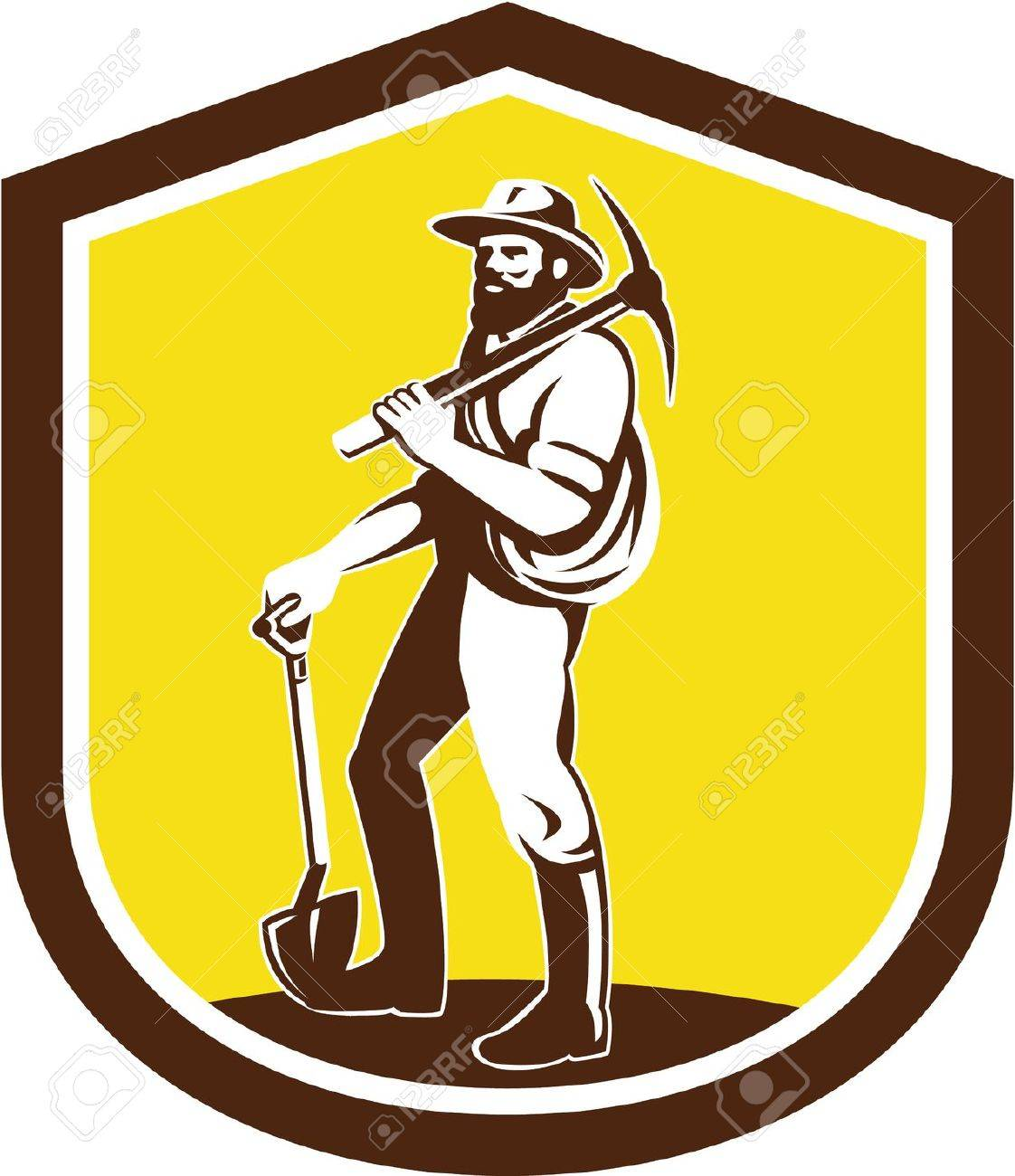 Illustration of a coal miner prospector wearing hat carrying pick axe on shoulder and holding shovel facing front set inside shield crest done in retro style on isolated background. - 28260564
