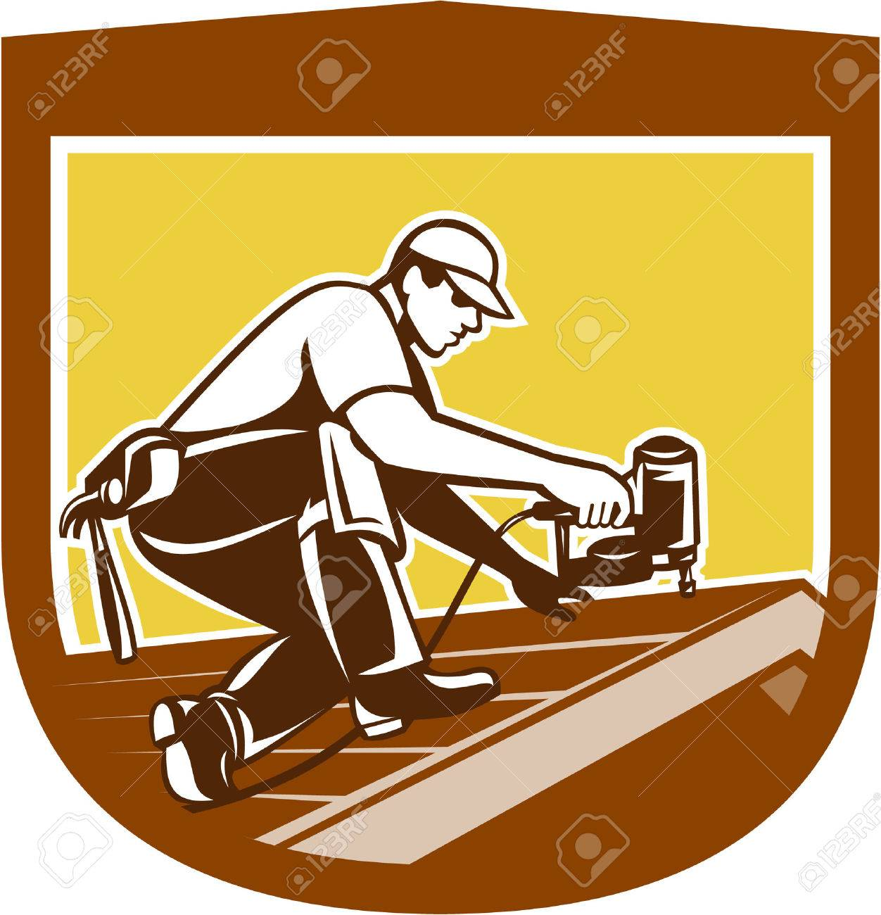 Illustration of a roofer construction worker roofing working on house roof with nail gun nailgun nailer done in retro style. Stock Vector - 28260567