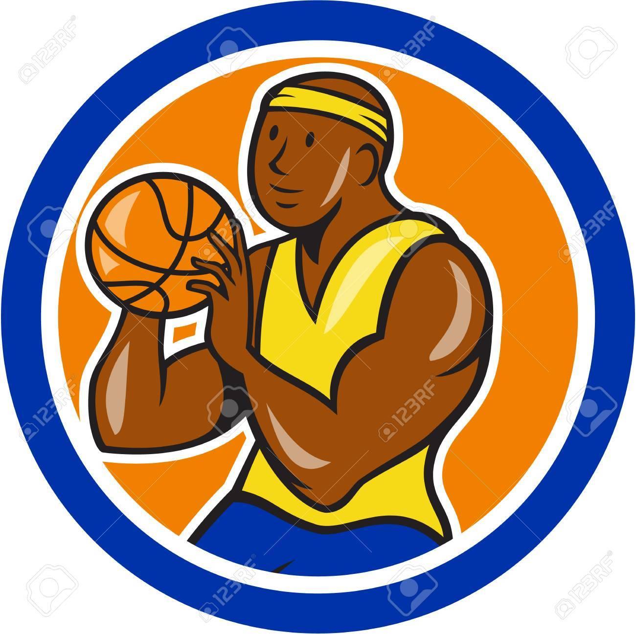 Illustration d'un joueur de basket ball tir ball afro américaine disposées en cercle sur fond blanc isolé fait dans le style de bande dessinée.