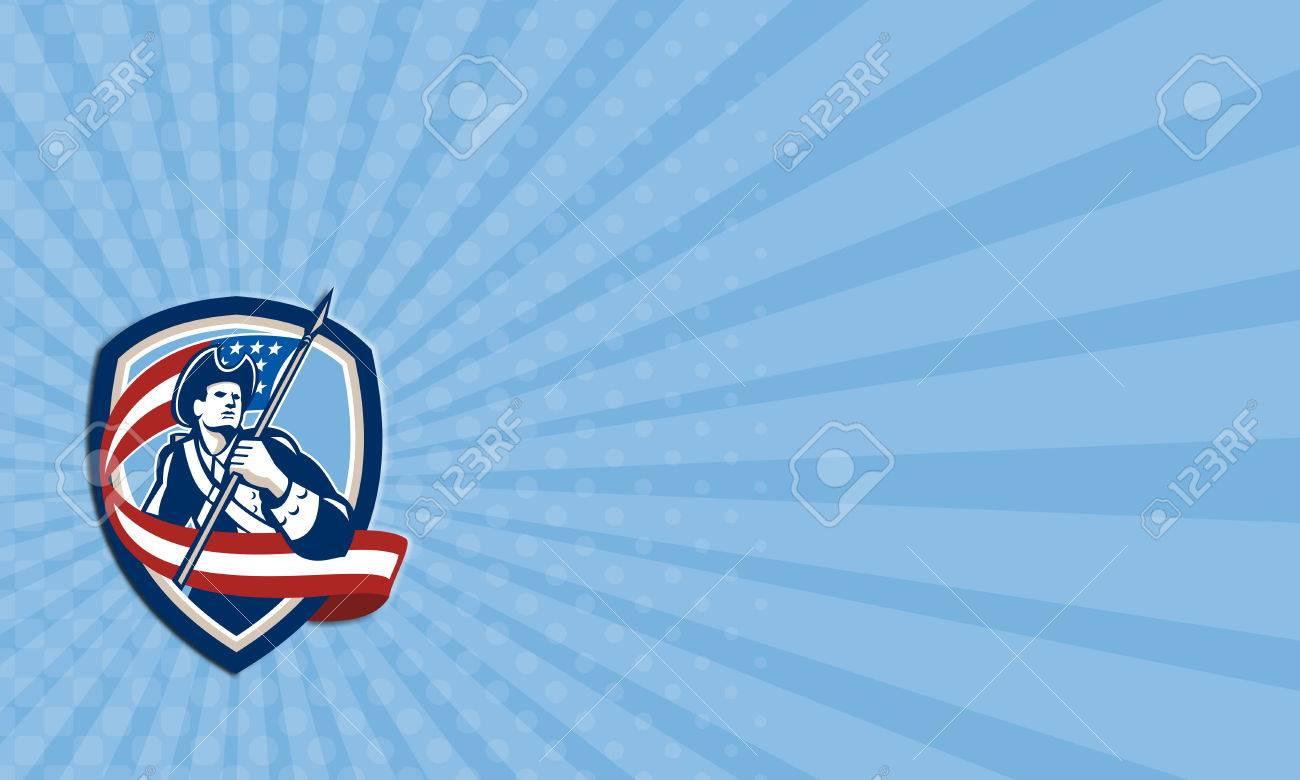 Carte De Visite Illustration Dun Soldat Revolutionnaire Americaine Patriot Agitant USA Drapeau Banniere Etoilee Qui Cherchent A Cote Place La Forme