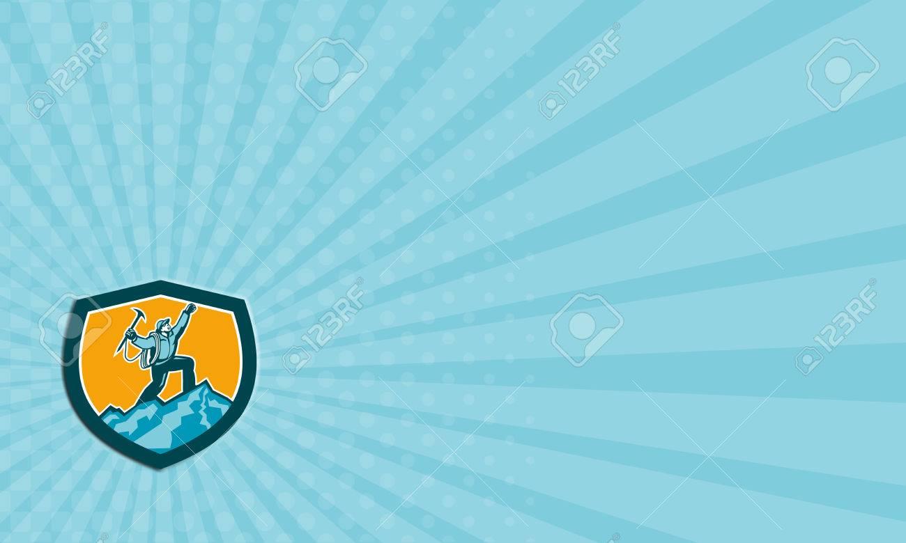 Carte De Visite Illustration Lalpiniste Escalade Atteignant Le Sommet Celebrant Tenant Une Hache Glace Situee Au Sein Forme Bouclier Crete Sur