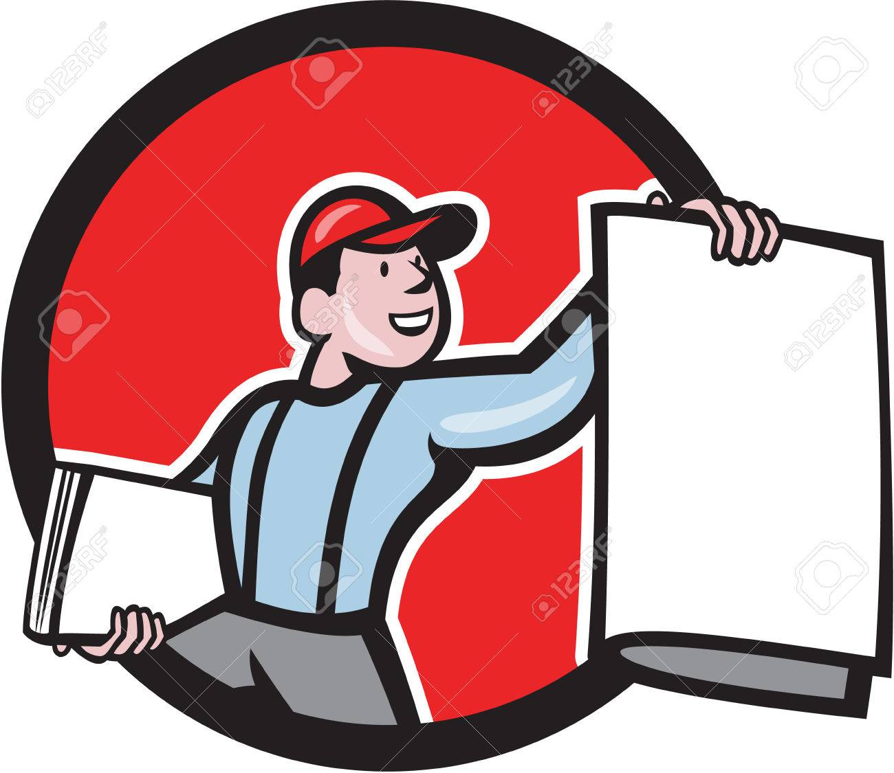 Illustration of a newsboy shouting selling newspaper set inside circle on isolated background done in cartoon style. - 28374086