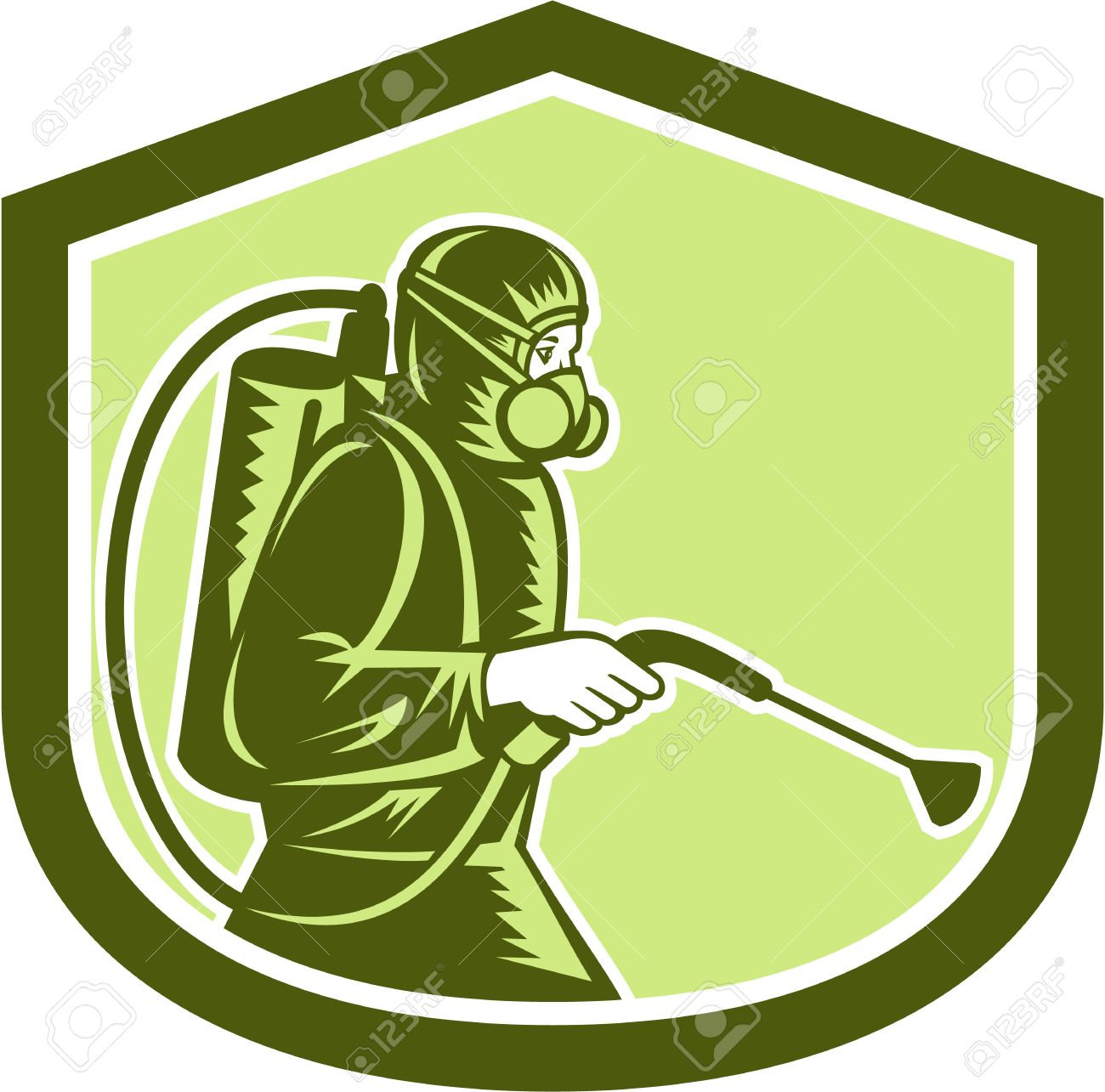 Illustration of pest control exterminator spraying side view set inside shield crest on isolated background done in retro style. - 28594150
