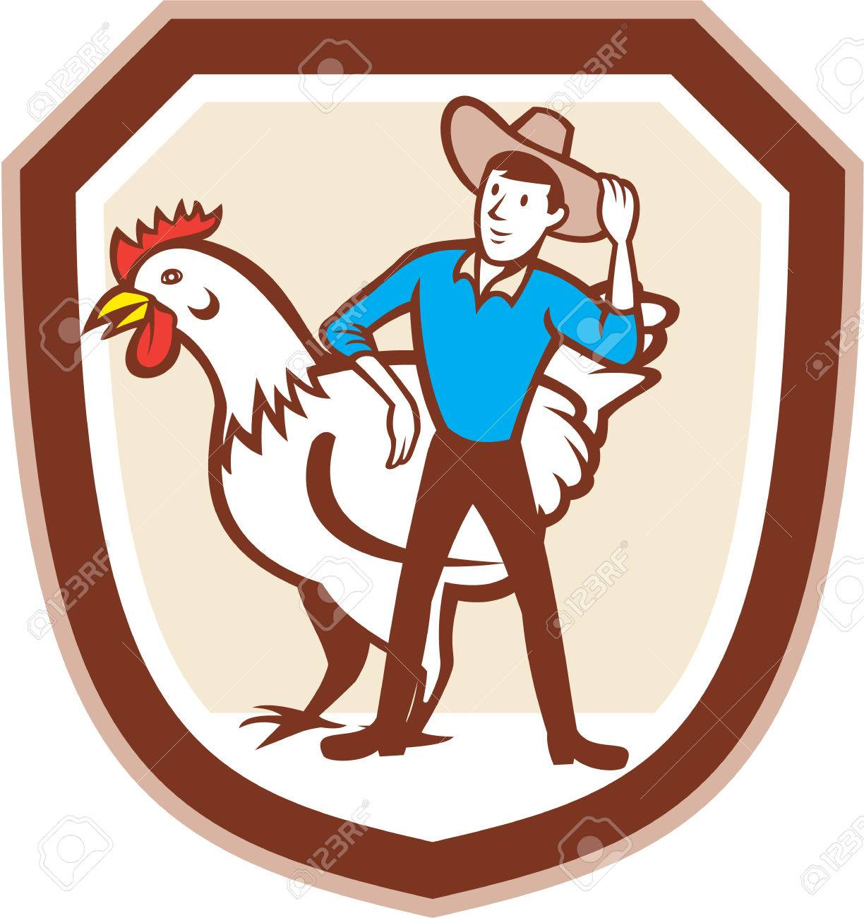 Illustration of a hen chicken fowl and male farmer set inside shield crest done in cartoon style. - 28797063