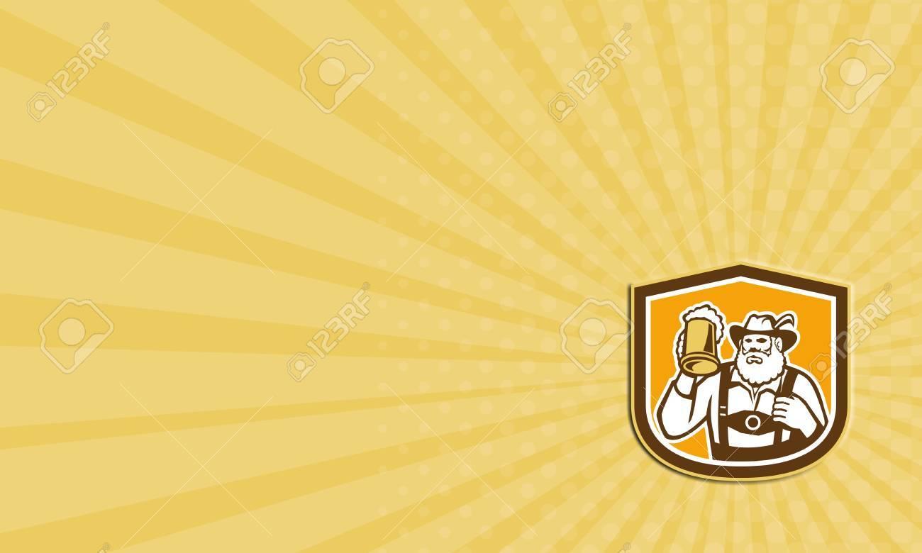 Carte De Visite Montrant Illustration Dun Buveur Bire Bavaroise Lever Tasse Potable Regardant Porter Des Culottes Cuir Et Chapeau Allemand