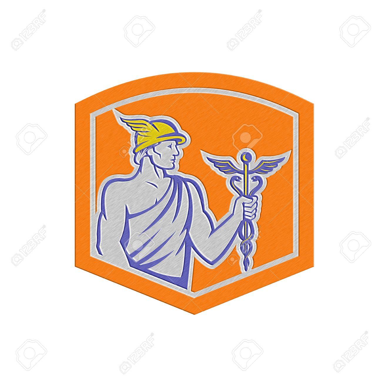 Ilustración Metálico Estilo De Dios Romano Mercurio Dios Patrón De