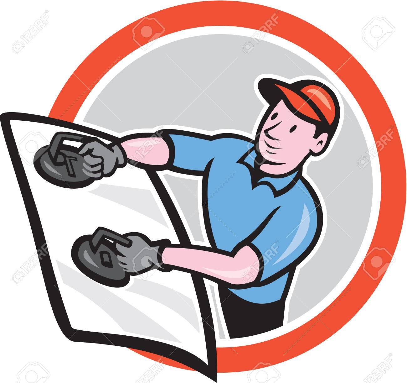 Illustration of automotive glass installer carrying windshield viewed from front set inside circle on isolated background done in cartoon style. - 29533408