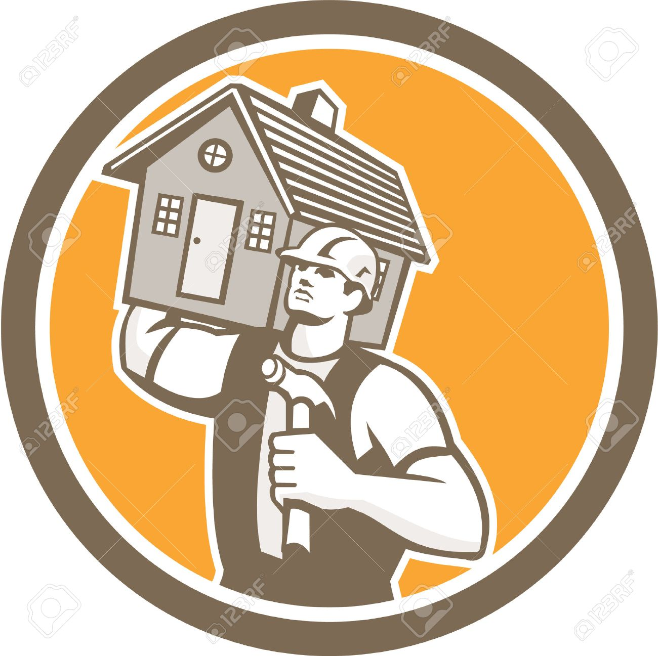 Illustration of a carpenter builder holding hammer and carrying house on shoulder set inside circle on isolated background done in retro style. Stock Vector - 30392734