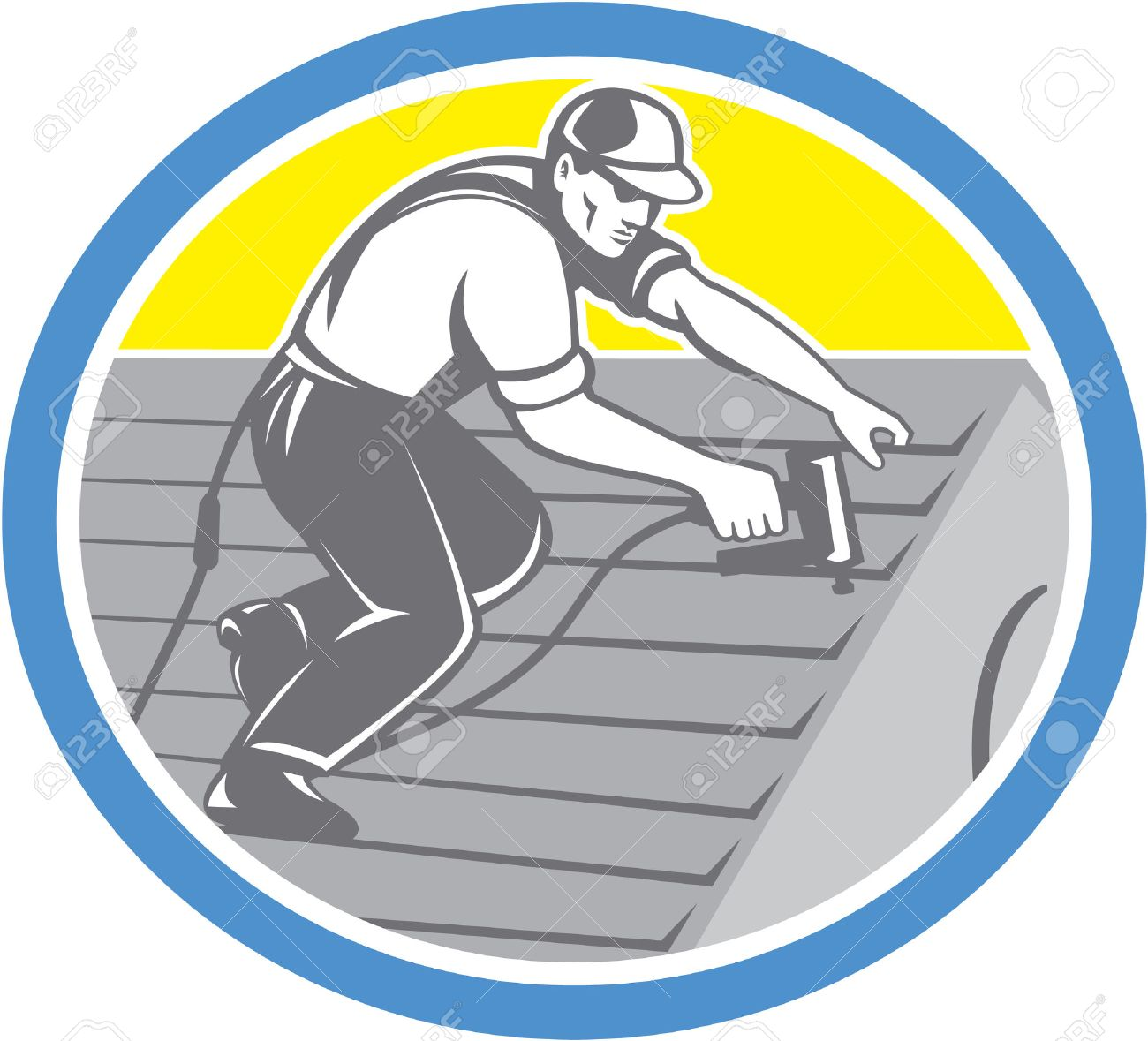 Illustration of a roofer construction worker roofing working on house roof with nail gun nailgun nailer set inside circle done in retro style. Stock Vector - 30391599