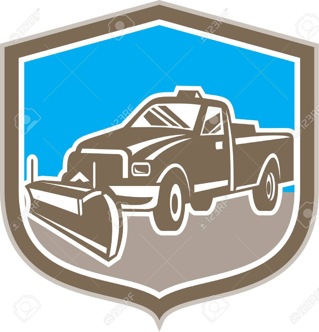 Illustration of a snow plow truck set inside shield on isolated background done in retro style. - 30638516