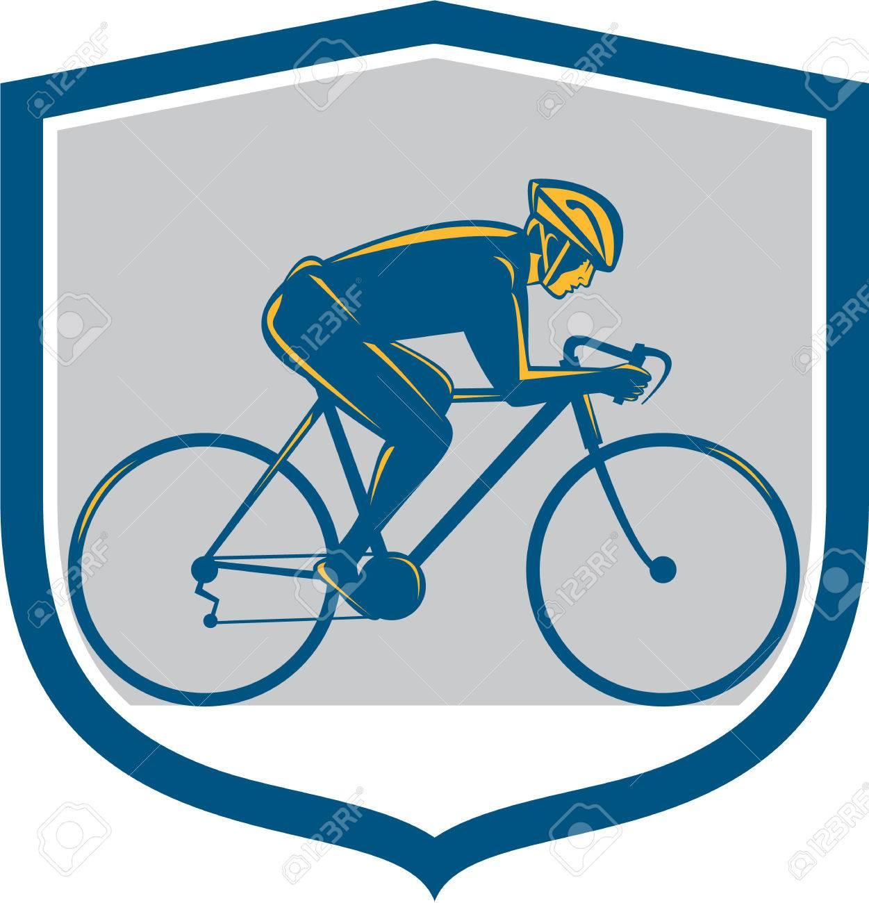 Illustration D\'un Cycliste à Vélo équitation VTT Côté Face, Ensemble ...