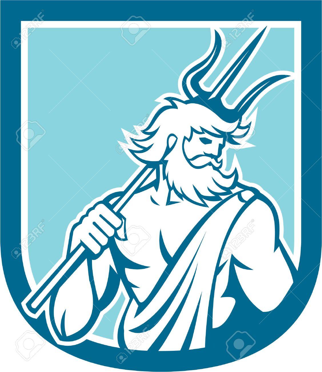 Illustration of Roman god of sea Neptune or Poseidon of Greek mythology holding a trident set inside shield crest on isolated background done in retro style Stock Vector - 31077542