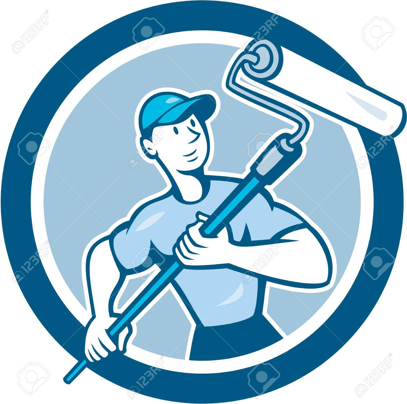 Illustration of a house painter handyman holding paint roller set inside circle on isolated background done in cartoon style. - 31296790