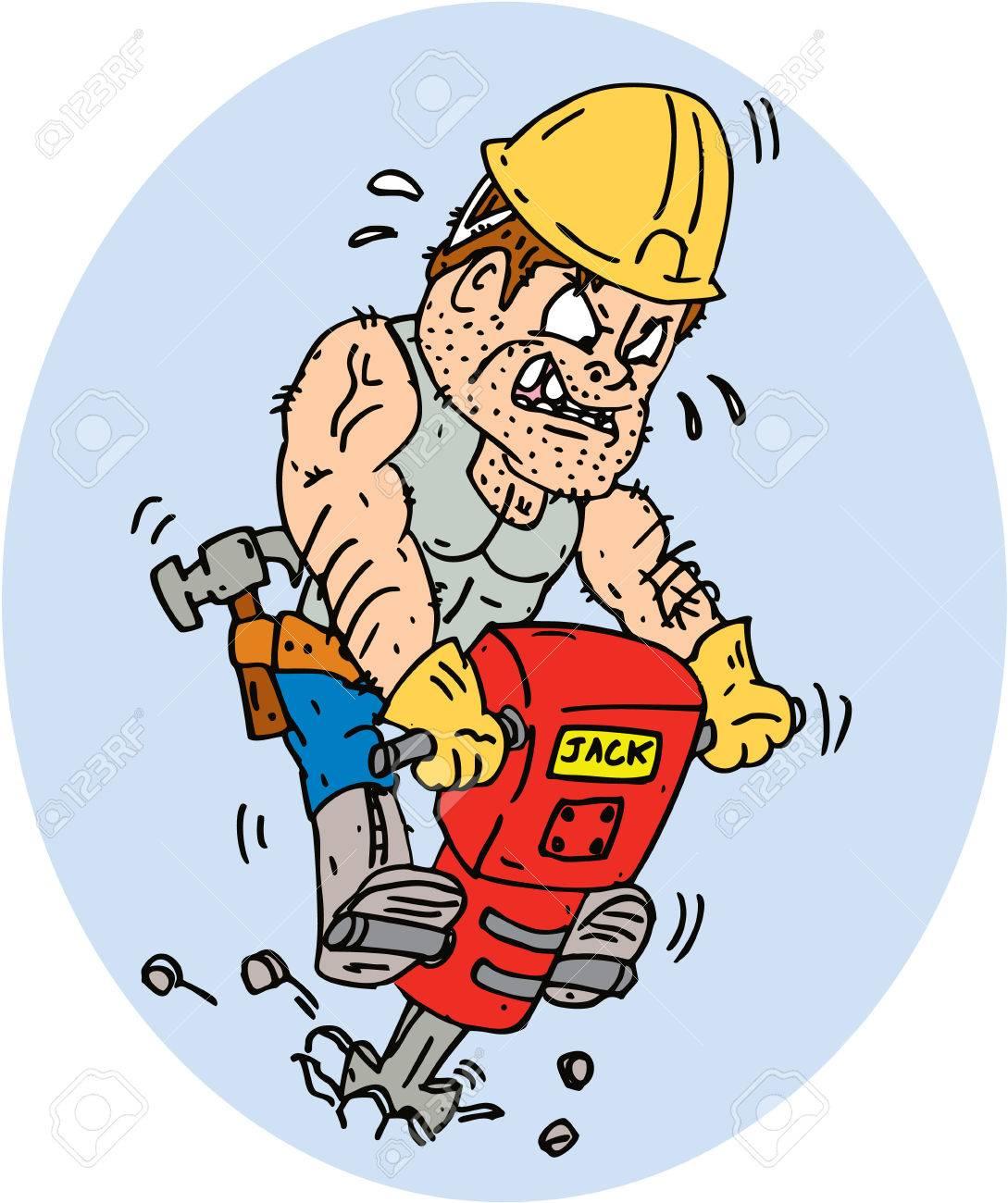 Illustration Von Einem Bauarbeiter Mit Presslufthammer