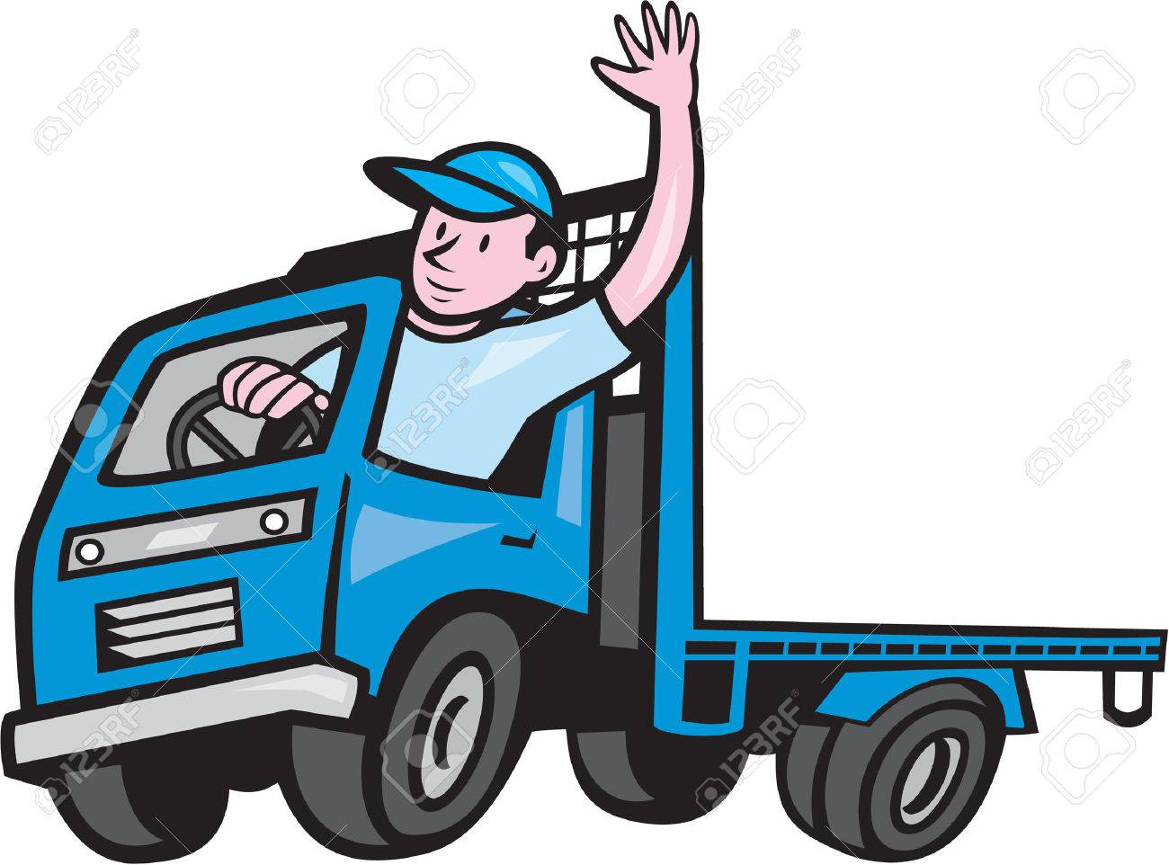 Illustration of a flatbed truck with driver waving hello on isolated white background done in cartoon style. - 32311174