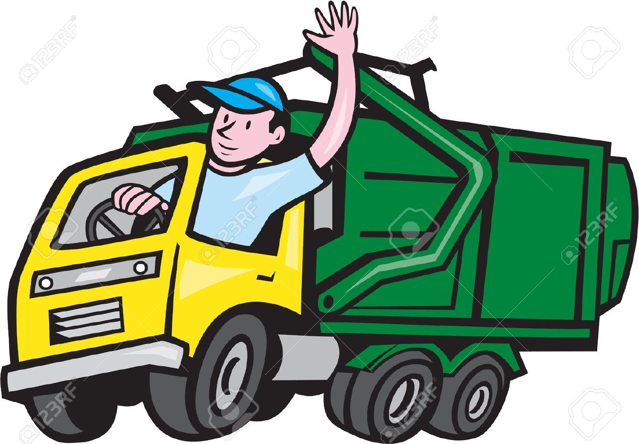 Illustration of a garbage rubbish truck with driver waving hello on isolated white background done in cartoon style. Stock Vector - 32311177