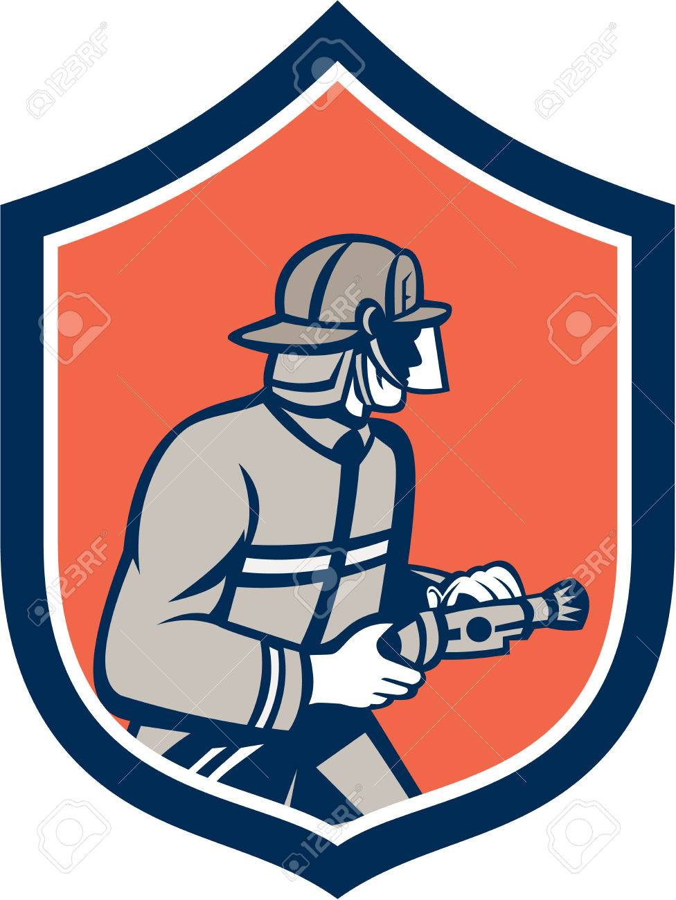illustration of a fireman fire fighter emergency worker with
