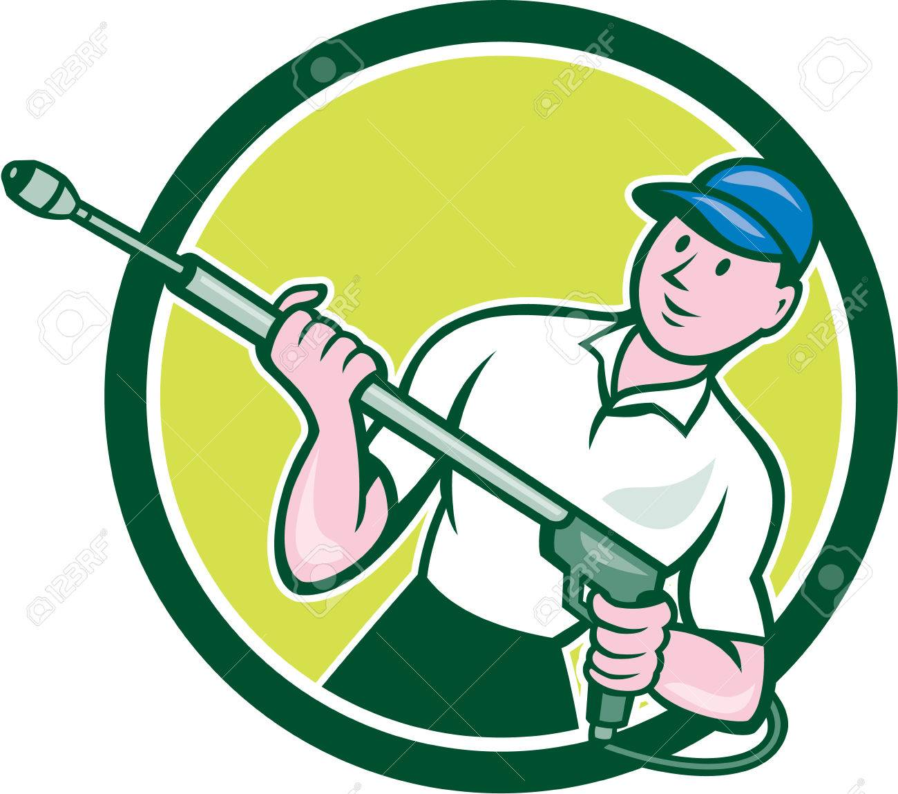 Illustration of a male pressure washing cleaner worker holding a water blaster viewed from front set inside circle shape on isolated background done in cartoon style. Stock Vector - 34617337