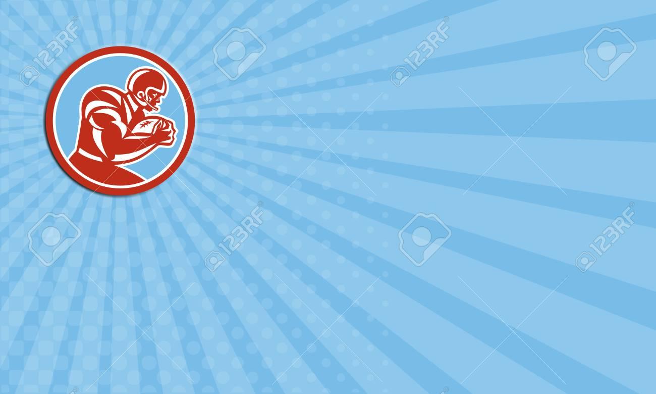 Carte De Visite Montrant Illustration Dun Joueur Balle Football Gril Holding Amricaine En Cours Dexcution Se Prcipiter Vu Ct Mettre Lintrieur