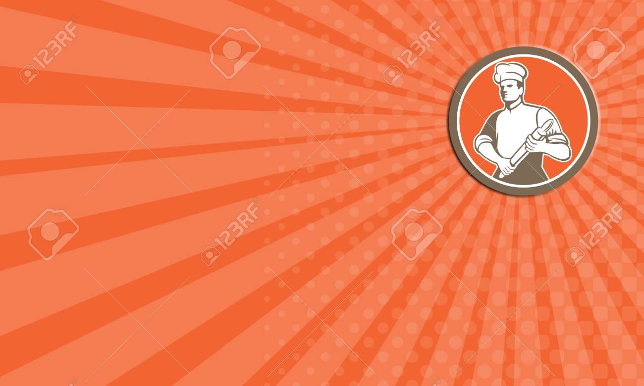 Carte De Visite Illustration Dun Boulanger Chef Cuisinier Tenant Un